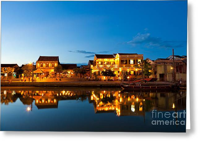 Indochina Greeting Cards - Night view of Hoi An City Vietnam Greeting Card by Fototrav Print