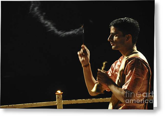 One Young Man Only Greeting Cards - nightly Hindu Puja Rituals Greeting Card by Judith Katz