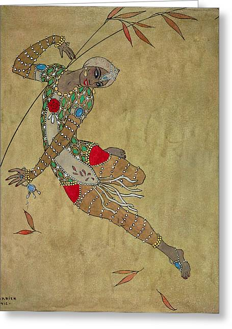 Choreographer Greeting Cards - Nijinsky in Le Festin LOiseau dOr Greeting Card by Georges Barbier
