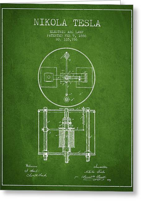 Generators Greeting Cards - Nikola Tesla Patent Drawing From 1886 - Green Greeting Card by Aged Pixel