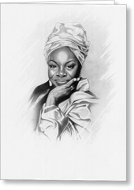 African-american Drawings Greeting Cards - Nina Simone Greeting Card by Gordon Van Dusen
