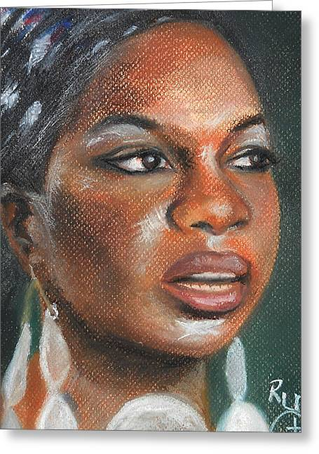 Celebrity Portraits Pastels Greeting Cards - Nina Simone  Greeting Card by Ronnie Melvin