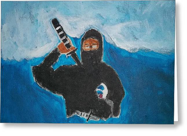 Etc. Paintings Greeting Cards - Ninja Acrylic Painting Greeting Card by William Sahir House