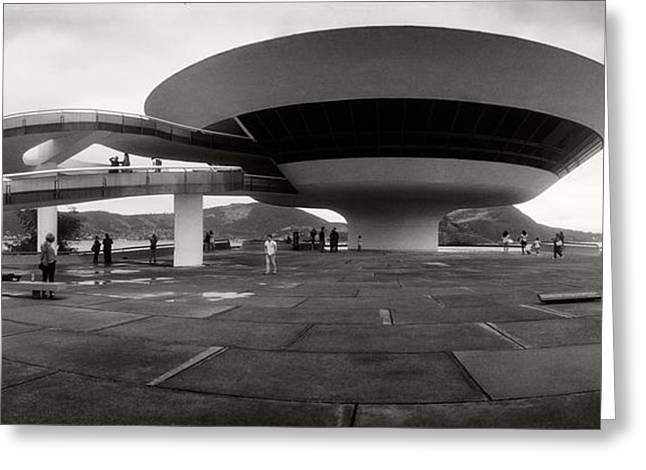 Contemporary Art Museum Greeting Cards - Niteroi Contemporary Art Museum Greeting Card by Panoramic Images