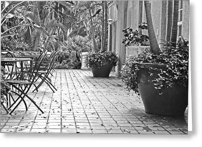 Patio Table And Chairs Photographs Greeting Cards - No Customers Greeting Card by GK Hebert Photography