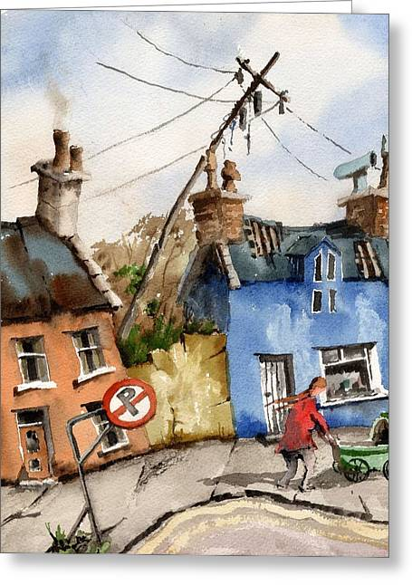 Yellow Line Greeting Cards - No Parking Greeting Card by Val Byrne