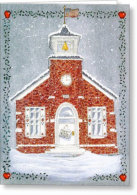 Snowy Day Mixed Media Greeting Cards - No school today Greeting Card by Sally  Evans