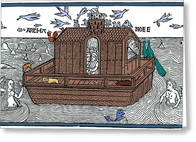 Marine Creatures Greeting Cards - Noahs Ark With Merfolk, 1493 Greeting Card by Photo Researchers