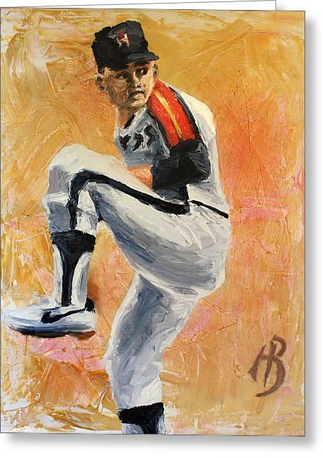 Astros Paintings Greeting Cards - Nolan Ryan Greeting Card by Adam Barone