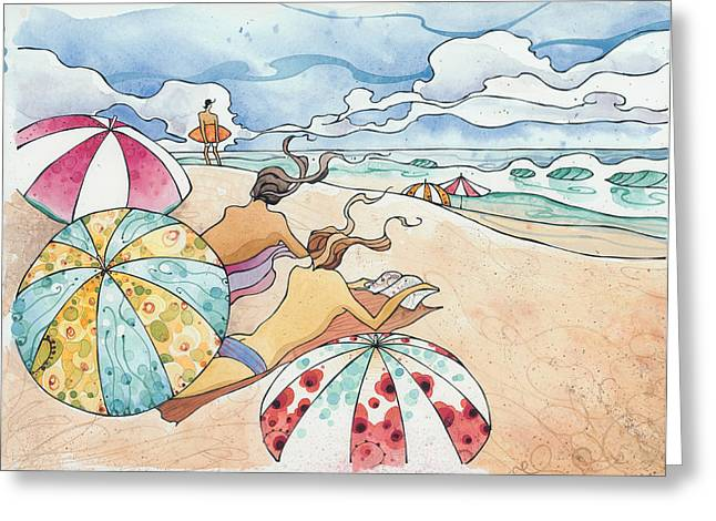 Surfing Art Greeting Cards - Noosa Ninnies Greeting Card by Harry Holiday