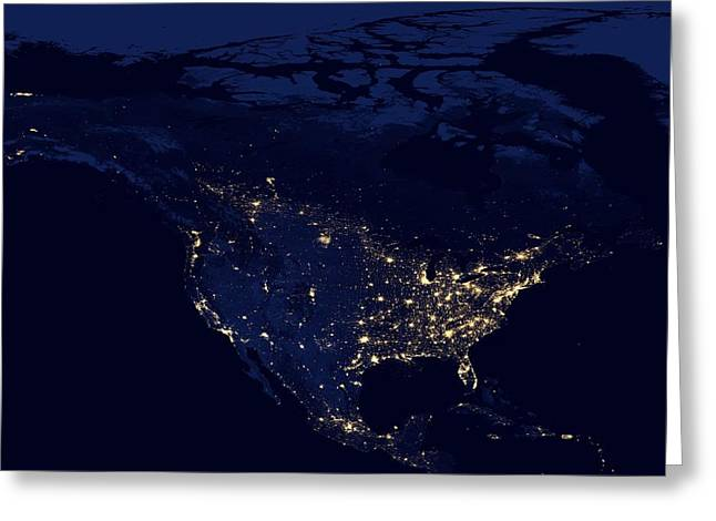 Interstellar Space Greeting Cards - North America at night Greeting Card by Celestial Images