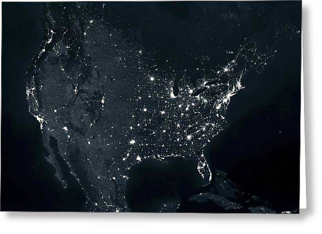 Planet Earth Greeting Cards - North America at night Greeting Card by Science Photo Library