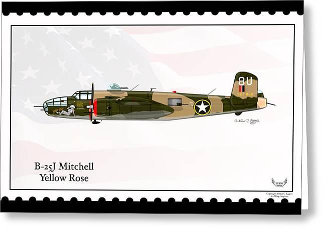 North American B-25j Mitchell Greeting Card by Arthur Eggers