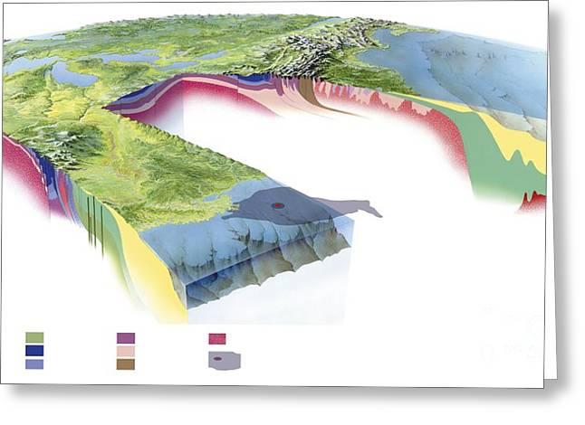 Oil Slick Photographs Greeting Cards - North American Geology And Oil Slick Greeting Card by Gary Hincks