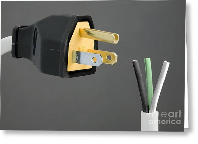 Electrical Plug Greeting Cards - North American Mains Plug And Wiring Greeting Card by Sheila Terry
