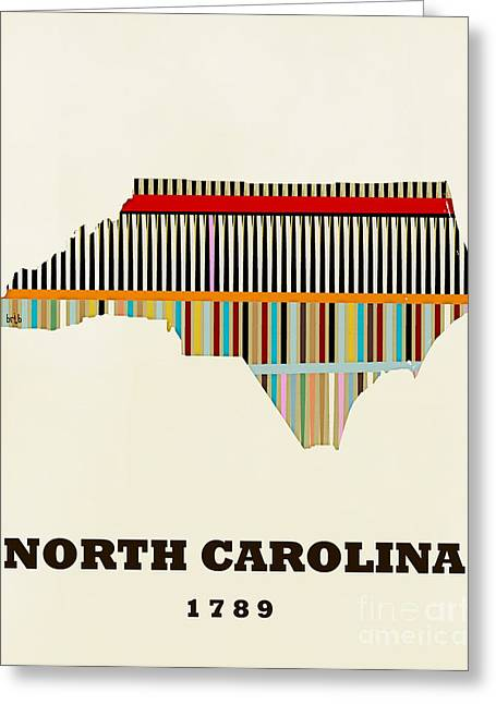 World Map Print Paintings Greeting Cards - North Carolina state map modern Greeting Card by Bri Buckley