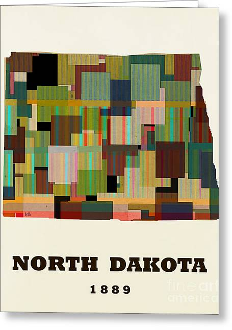 World Map Print Paintings Greeting Cards - North Dakota State Map Modern Greeting Card by Bri Buckley