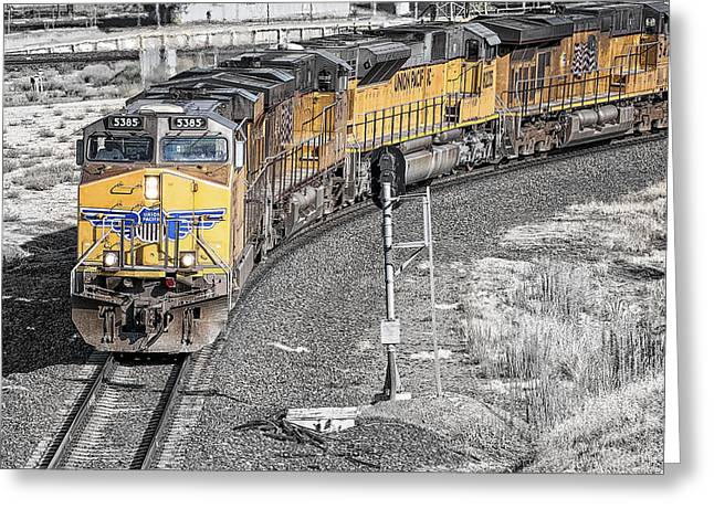 Union Pacific Greeting Cards - Northbound From Roseville at the Crooked Bridge Greeting Card by Jim Thompson