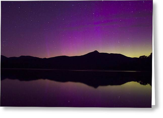 Tamworth Greeting Cards - Northern Lights over Mount Chocorua Greeting Card by John Burk