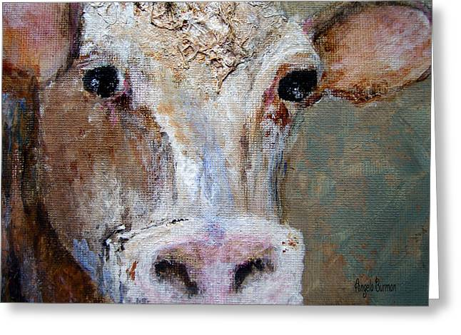 Moos Print Greeting Cards - Nosy Cow Greeting Card by Angela Burman