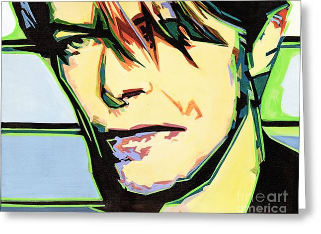 Tablets Greeting Cards - David Bowie Greeting Card by Tanya Filichkin