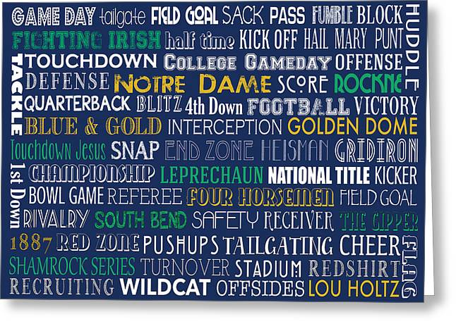 Gipper Greeting Cards - Notre Dame Football Greeting Card by Jaime Friedman