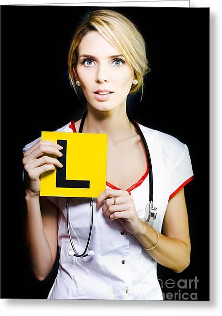 Trepidation Greeting Cards - Novice nurse or medical student Greeting Card by Ryan Jorgensen