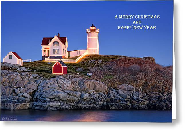 Cape Neddick Greeting Cards - Nubble at Christmas Greeting Card by Richard Bean