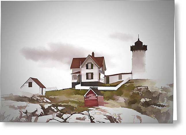 Cape Neddick Lighthouse Digital Art Greeting Cards - Nubble Light Greeting Card by Ray Summers Photography