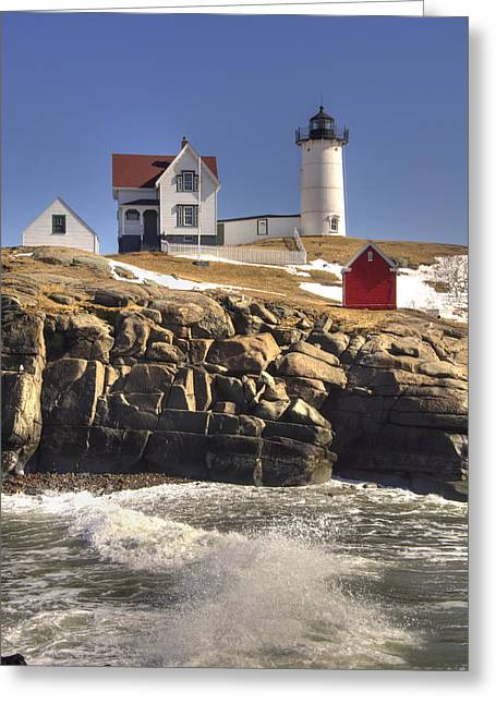 New England Lighthouse Greeting Cards - Nubble Lighthouse 3 Greeting Card by Joann Vitali