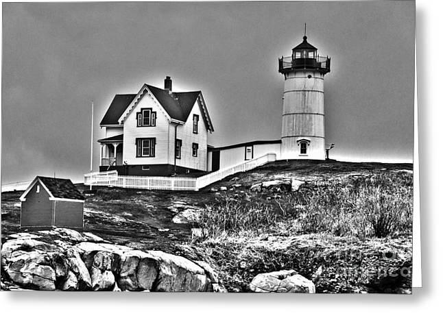 Cape Neddick Greeting Cards - Nubble Lighthouse Cape Neddick Maine Greeting Card by Glenn Gordon