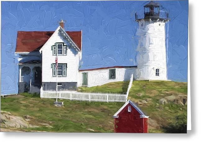 Sea Shore Greeting Cards - Nubble Lighthouse Maine Painterly Effect Greeting Card by Carol Leigh