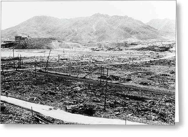 Nuclear Destruction At Nagasaki Greeting Card by Us Navy