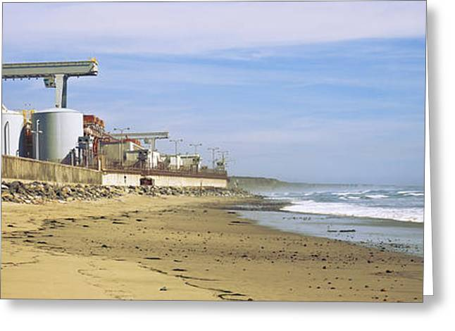 California Beach Image Greeting Cards - Nuclear Power Plant On The Beach, San Greeting Card by Panoramic Images