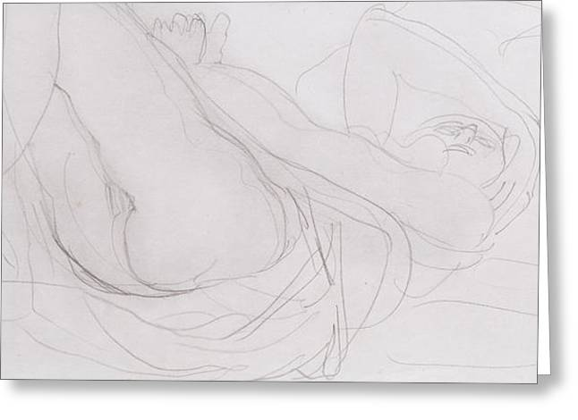 Nudity Drawings Greeting Cards - Nude Greeting Card by Auguste Rodin