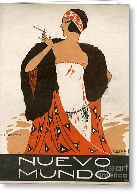 Twentieth Century Greeting Cards - Nuevo Mundo 1923 1920s Spain Cc Greeting Card by The Advertising Archives