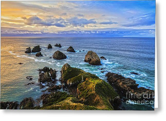 Coastline Greeting Cards - Nugget Point at Sunrise Otago New Zealand Greeting Card by Colin and Linda McKie
