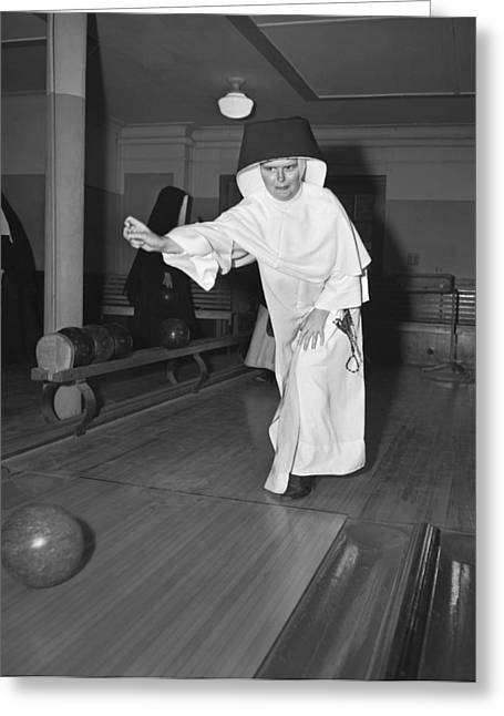 Nuns Bowling Greeting Card by Underwood Archives
