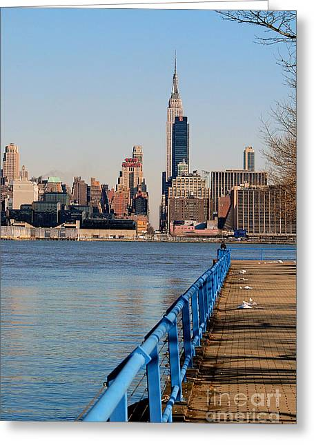 Knicks Greeting Cards - NY from NJ Greeting Card by Bob Stone