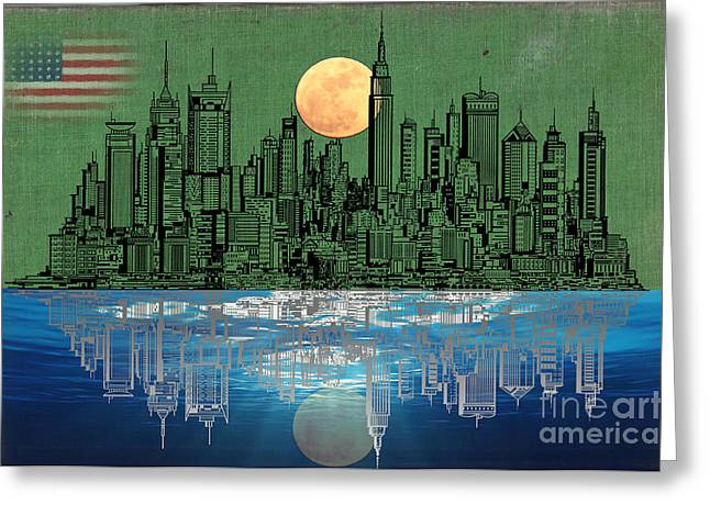 Historical Buildings Mixed Media Greeting Cards - NYC Skyline Greeting Card by Adam Asar