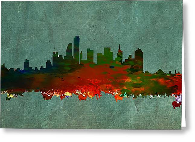 Historical Buildings Mixed Media Greeting Cards - NYC Skyline Greeting Card by Celestial Images