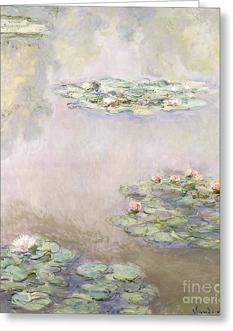 Lilly Pond Paintings Greeting Cards - Nympheas Greeting Card by Claude Monet