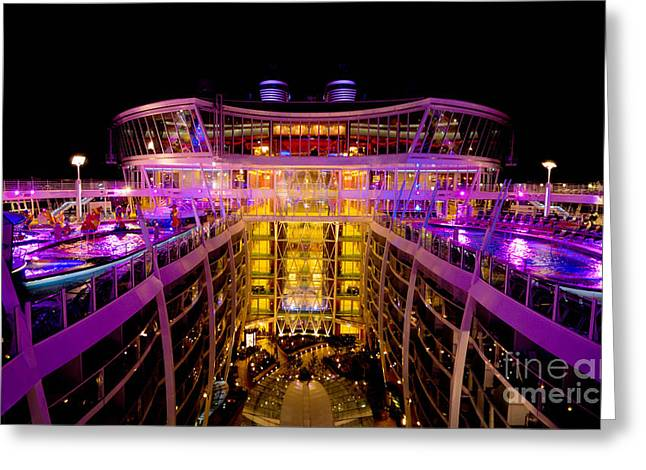 Pool Deck Greeting Cards - Oasis of the Seas Nighttime Pool Deck Greeting Card by Amy Cicconi