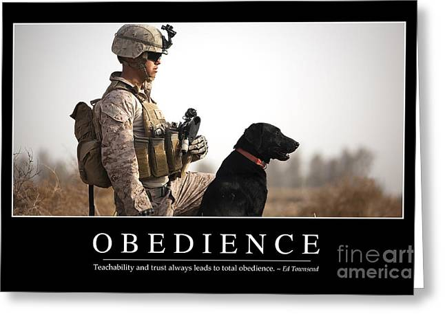Working Dog Greeting Cards - Obedience Inspirational Quote Greeting Card by Stocktrek Images