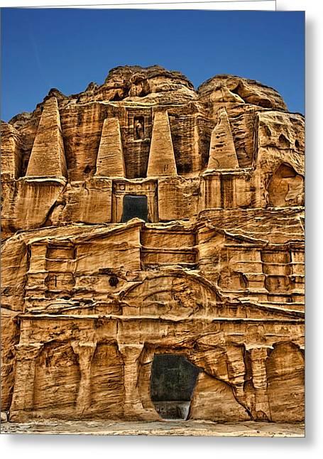 Petra Greeting Cards - Obelisks Tomb. Greeting Card by Vladimir Rayzman
