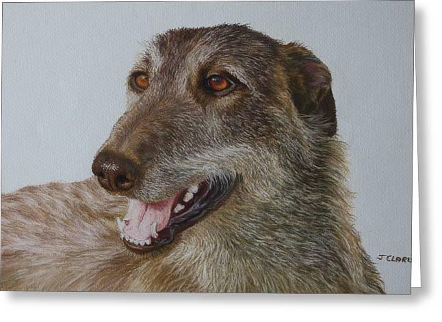 Greyhound Dog Pastels Greeting Cards - Obie the Deerhound/Greyhound Greeting Card by Jacqueline CLARISSE