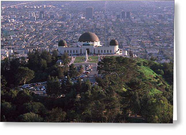 Observatory Greeting Cards - Observatory On A Hill With Cityscape Greeting Card by Panoramic Images