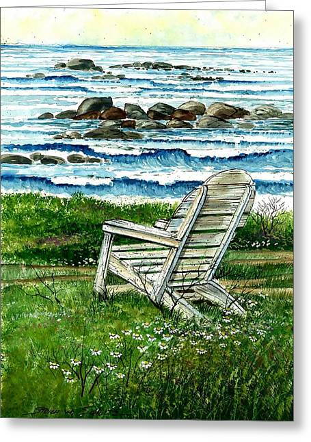 Award Winning Art Greeting Cards - Ocean Chair Greeting Card by Steven Schultz