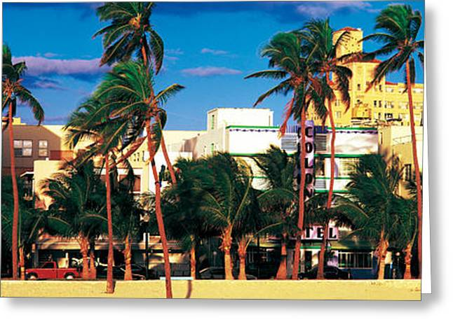Sand Art Greeting Cards - Ocean Drive South Beach Miami Beach Fl Greeting Card by Panoramic Images