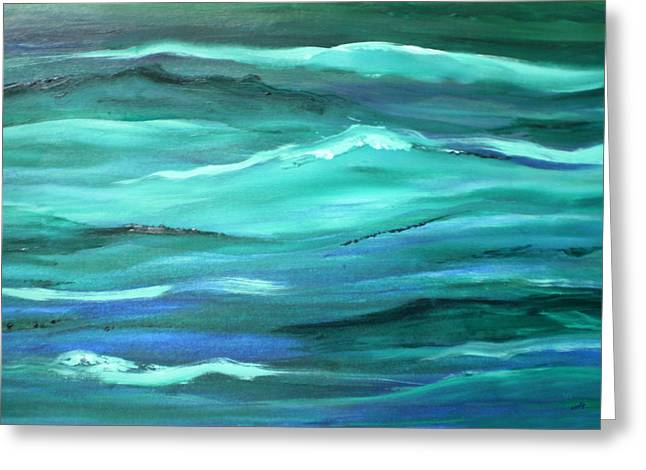 Ocean Swell Abstract Painting By V.kelly Greeting Card by Valerie Anne Kelly